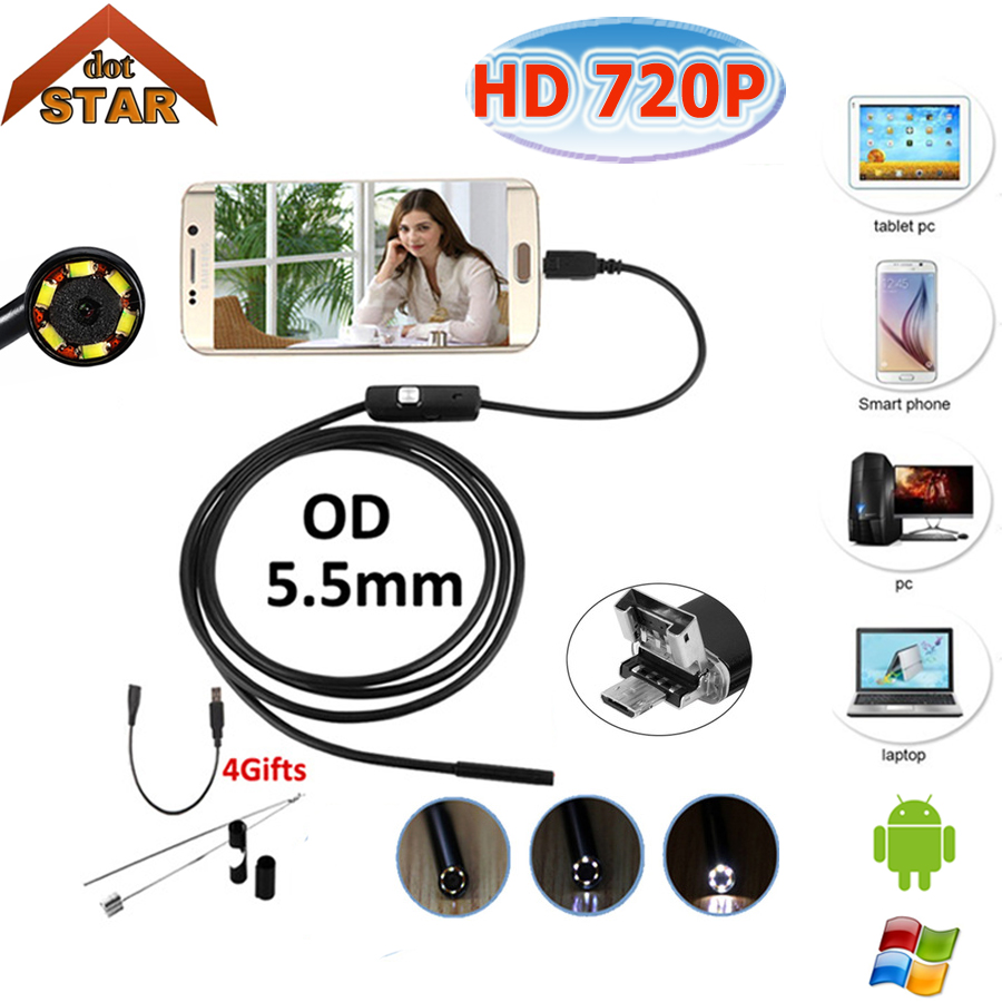 Stardot Endoscope 2in1 5.5mm Lens 10m Endoscope USB Android Camera Waterproof Car Pipe Inspection Snake Tube USB Endoskop Camera stardot usb endoscope android mini camera 7mm lens ip67 waterproof inspection borescope camera flexible snake tube endoskop