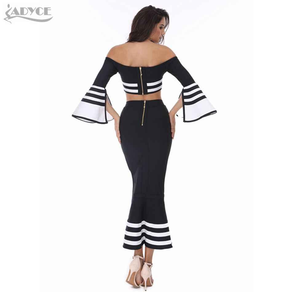 ADYCE 2019 חדש נשים מסלול שתי חתיכה להגדיר תחבושת שמלה לבן שחור התלקחות ארוך שרוול כבוי כתף MermaidEvening מפלגה שמלה