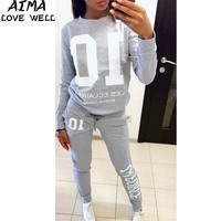 Autumn Tracksuit Long Sleeve Stitching Letter Sweatshirts Casual Suit Women Clothing 2 Piece Set Tops Pants