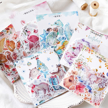 40Pcs/pack Kawaii Flamingo/Unicorn Stickers Scrapbooking DIY Journal Christmas Decorative Adhesive Label Stationery Supplies