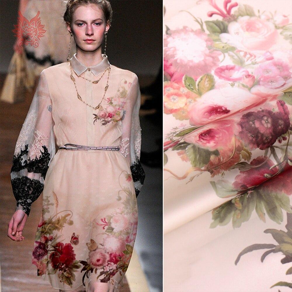 Ev ve Bahçe'ten Kumaş'de 140*138 cm 1 ADET lüks çiçek konumlandırma baskı 100% ipek organze kumaş elbise için saf ipek kumaş dokusu tela tejido 12mm SP5024'da  Grup 1
