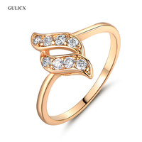 New 2014 18k Gold Plated Round Cut White Color Crystals Cubic Zirconia Engagement Rings For Woman