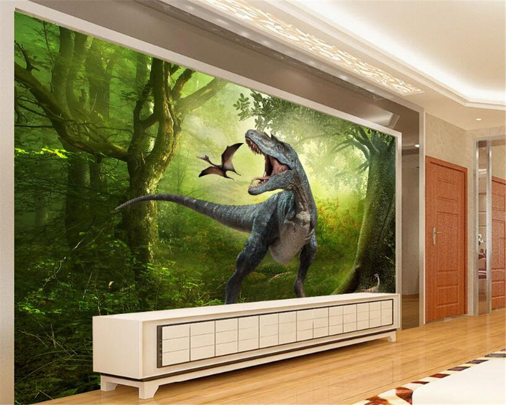 Beibehang 3D Wallpaper Jurassic Park Dinosaurs Out TV Background Wall Living Room Bedroom Background Mural photo papel de parede