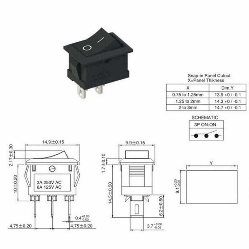 5 teile/los Hohe Qualität 2 Pin Snap-in Auf/Off Position Snap Boot Taste Schalter 12 V/ 110 V/250 V T1405 P0.5