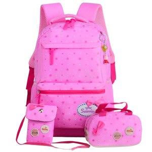 Image 2 - Children School Bags Teenagers Girls Printing Rucksack school Backpacks 3pcs/Set Mochila kids travel backpack Cute shoulder bag