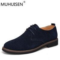 MUHUISEN Spring Autumn Men Oxfords Shoes Genuine Leather Casual Oxford Shoes Men Mokassins Cow Suede Flats