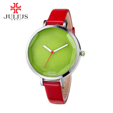 Hot girls 2017 precioso reloj de la jalea mujeres visten rhinestone relojes de moda reloj de cuarzo ocasional reloj de pulsera de cuero julius 534 reloj