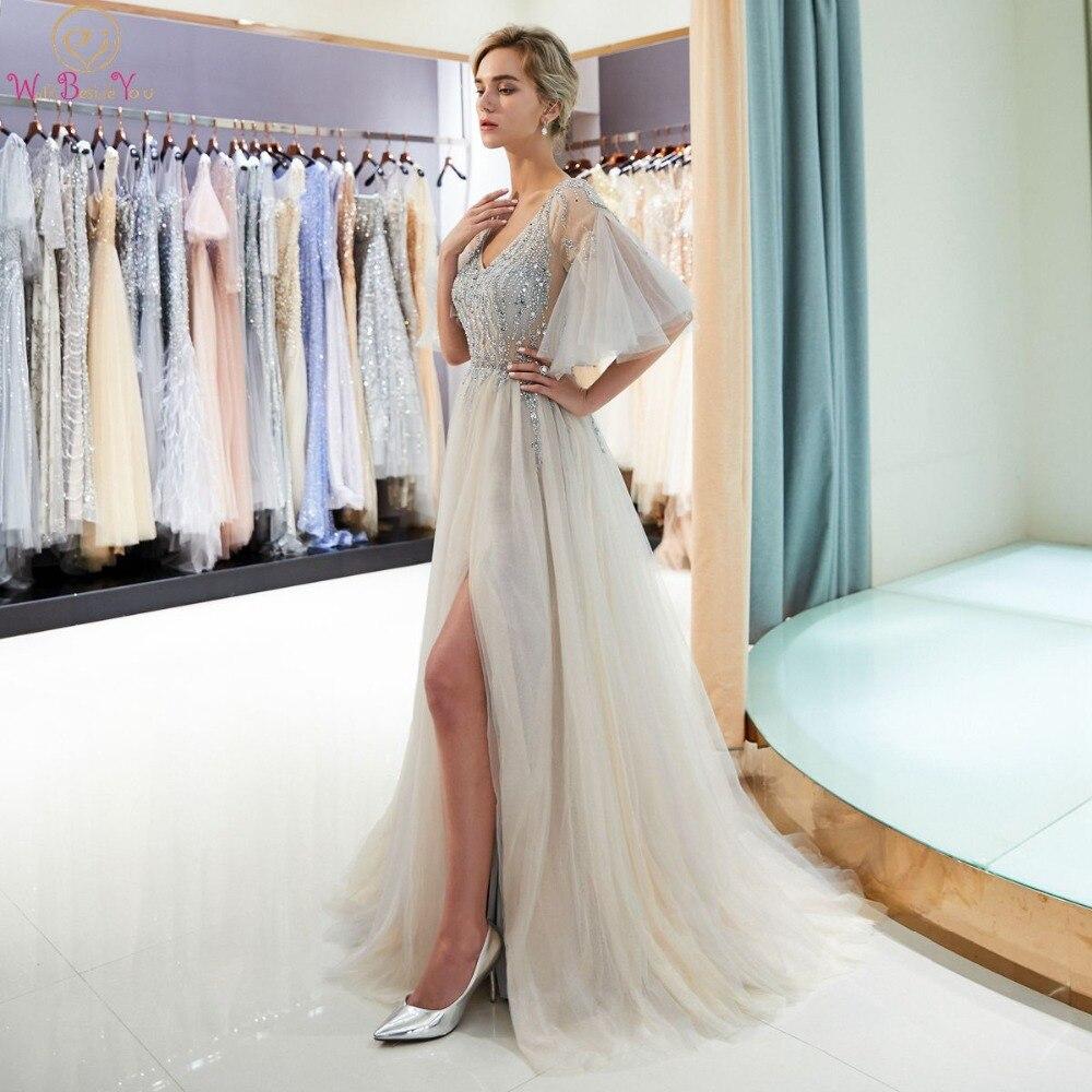 Gray Crystal Prom Dresses Beading Bodice Short Sleeves Walk Beside You Illusion Tulle A-line Vestidos Bestidos De Fiesta Largos