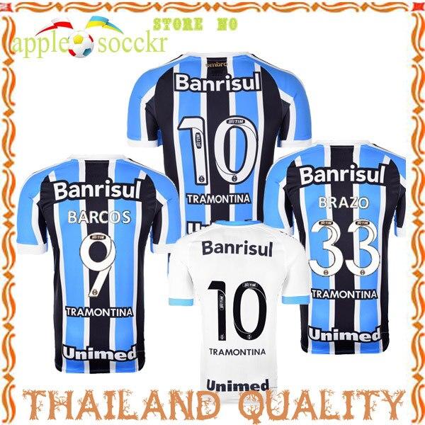 126c840d8a326 New 2015 Gremio Camisa Futebol Soccer Jersey 2016 Gremio Football Shirt 15  16 Home Black Blue Away White Custom Name Camisetas em Camisas de futebol  de ...