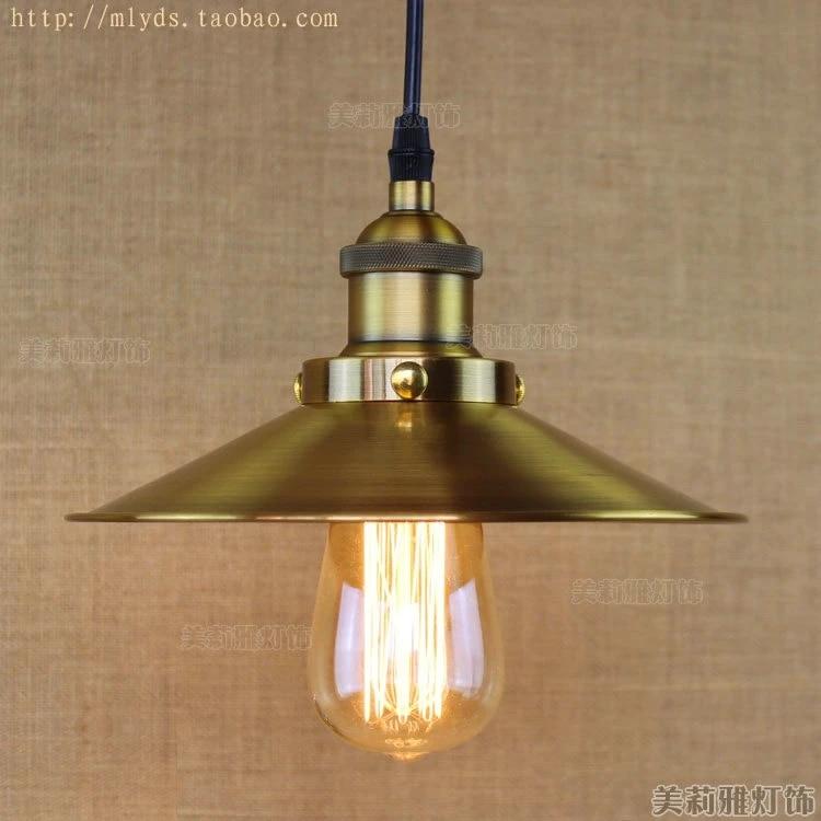 retro loft style vintage industrial lighting edison pendant light fixtures golden lampshade lampen nordic style