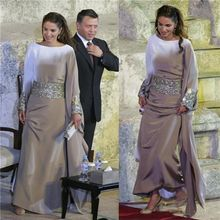 Dubai Arab Satin A-linie Formale Gelegenheits-kleid Regelmäßige Langen Ärmeln Scoop Abendkleid Bodenlangen Nahen Osten Stil Vestidos