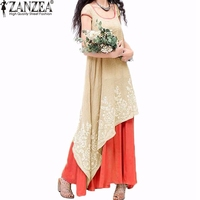Oversized 2016 Summer ZANZEA Women Vintage Casual Loose Dress O Neck Short Sleeve Floral Embroidery Two