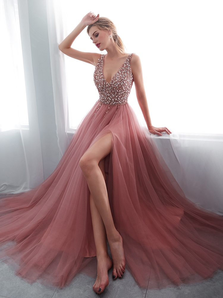 Prom-Dresses Beading Evening-Gown Lace-Up A-Line Tulle Backless De Pink V-Neck High-Split