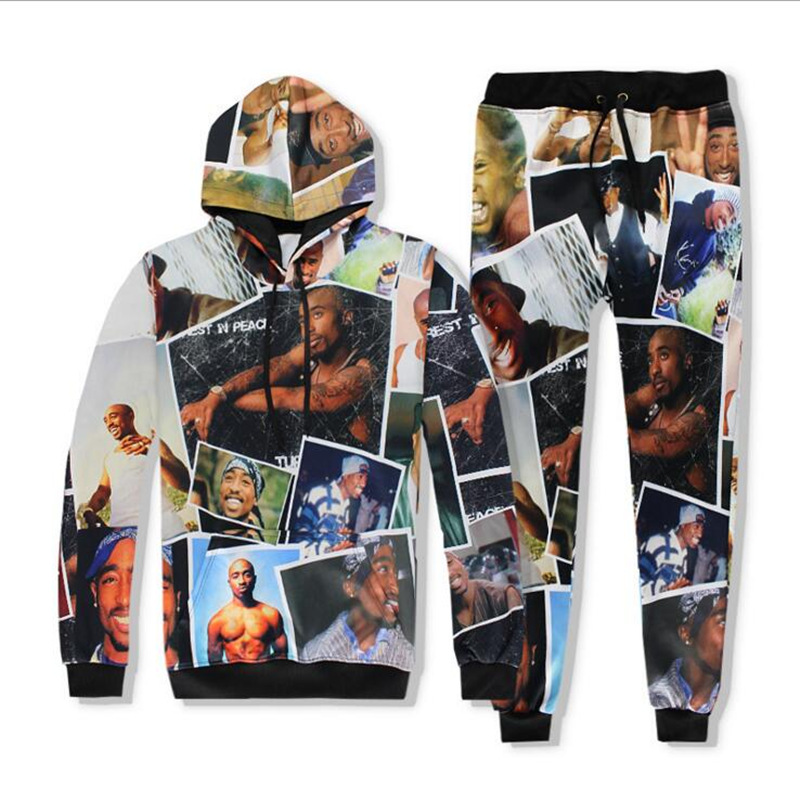 New Harajuku Casual Men/Women 3D Clothing Hip Hop Tracksuit Print 2pac Tupac 2 Piece Hooded And Pants Suits Sets S-XXL R2414