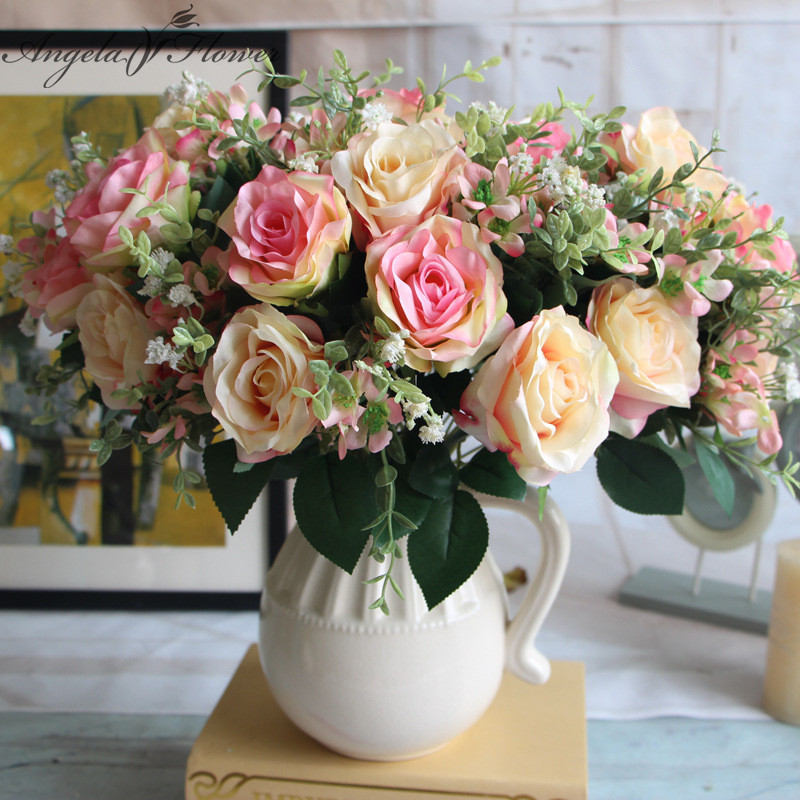 Buy spring style snow mountain rose for Artificial flowers decoration home