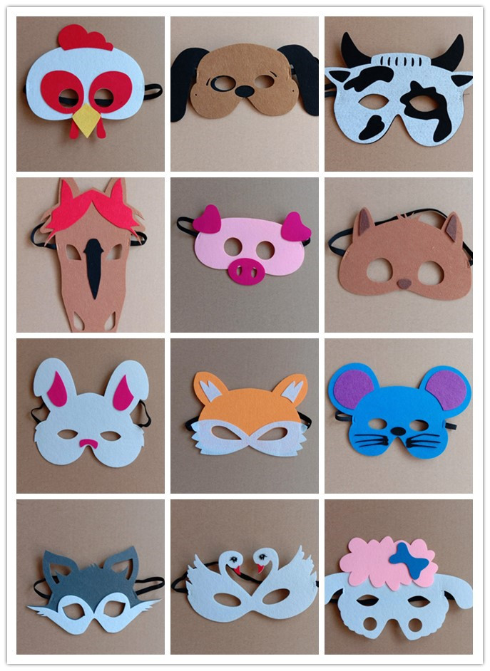 12PCS Face Masks Animal Creative Cute EVA Funny Masks for Birthday Party Costume