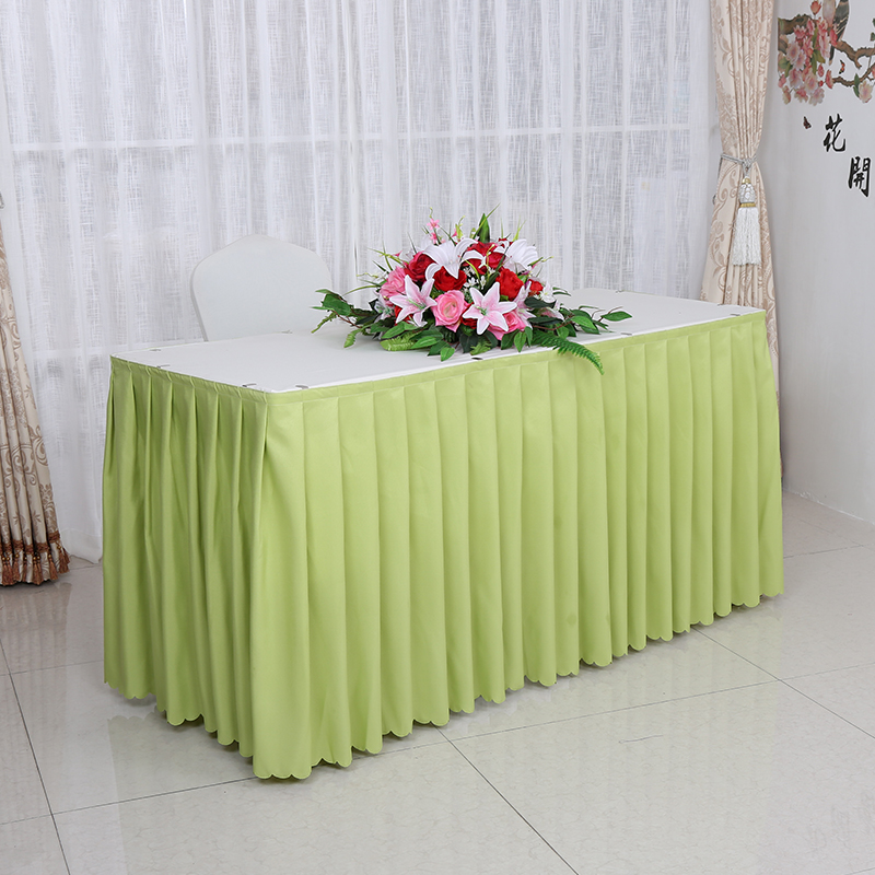 21 Colours polyester Table cover with skirt table swag pleated style made together wedding hotel table decoration tablecloth