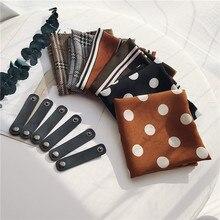 61034fae0386 Nouveau 50 50 Carré écharpe dot imprimer avec cadeau Foulards en mousseline  de soie Tissu Tête Sac Décoration Quatre Saisons Dis.