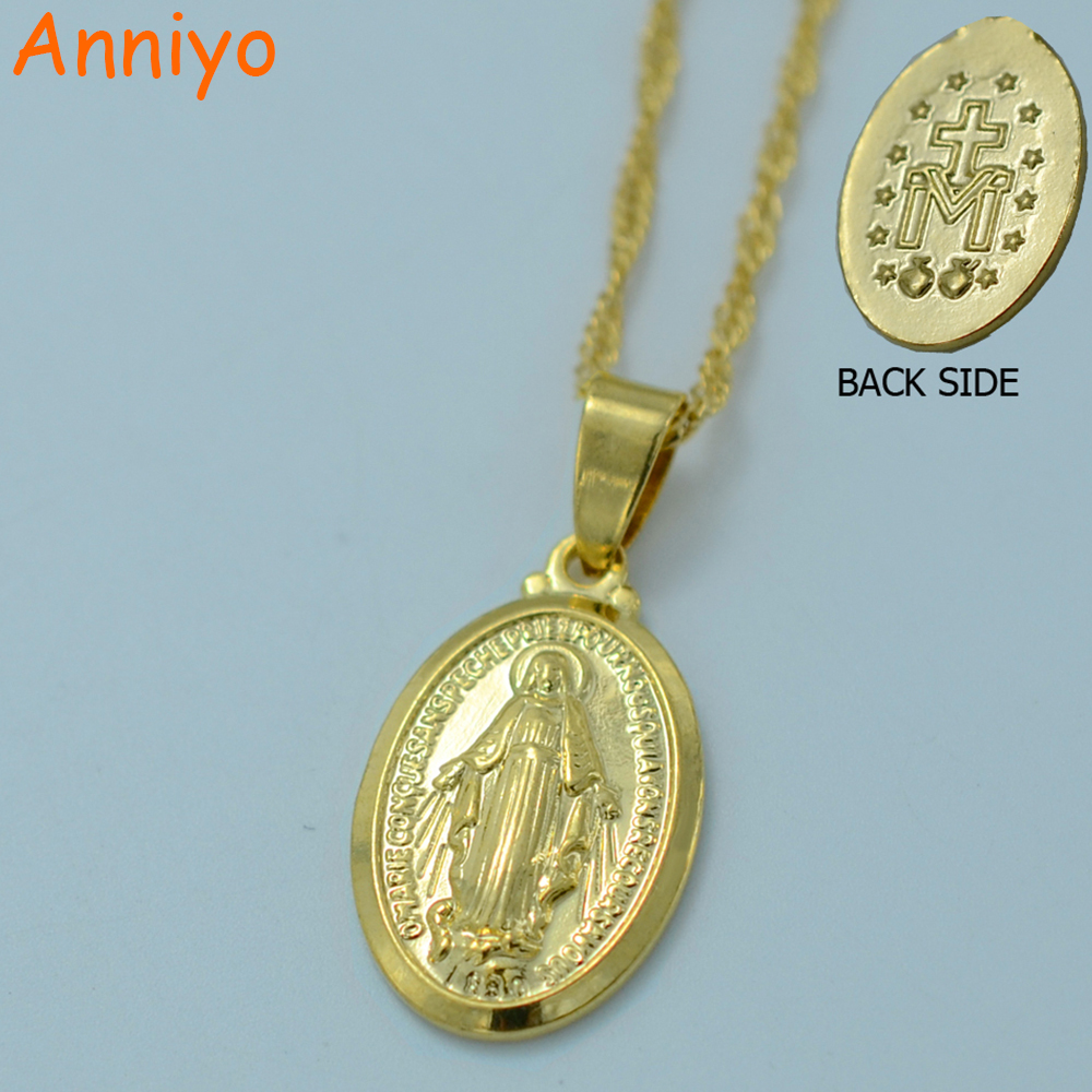 Anniyo Virgin Mary Necklace Trendy Gold Color Our Lady Womens
