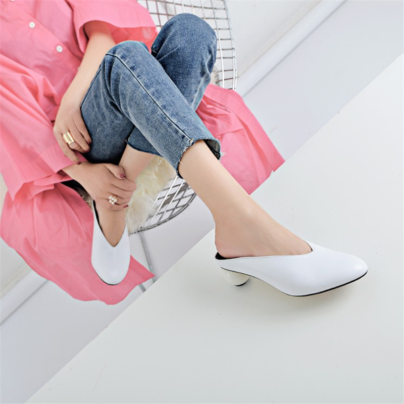 Ouqinvshen Spherical Heel Mules Shoes Round Toe Plus Size 34-43 Genuine Leather Yellow White Ladies Shoes Fashion Slippers Women