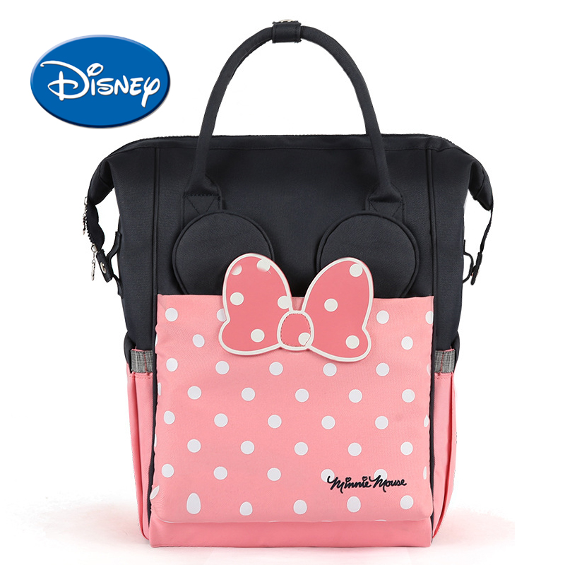 все цены на Disney Maternity USB Heating Diaper Bag Heat Preservation Nappy Backpack Large Capacity Toddler Nursing Travel Backpack онлайн
