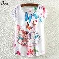 2015 ceramic printing T shirt woman Fashion Good Quality Cotton T Shirt Women Butterfly Tops Round T-shirts tee shirts for women