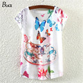 2015 de cerámica de impresión T shirt mujer Moda de Algodón de Buena Calidad Camiseta de la Mariposa Mujeres Tops Redondas Camisetas Camisetas para mujeres