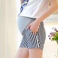 L / XL mujeres pantalones cortos de rayas cortocircuitos de maternidad de verano de la alta cintura elástica ropa mujeres embarazadas más tamaño madre pantalones abdominales