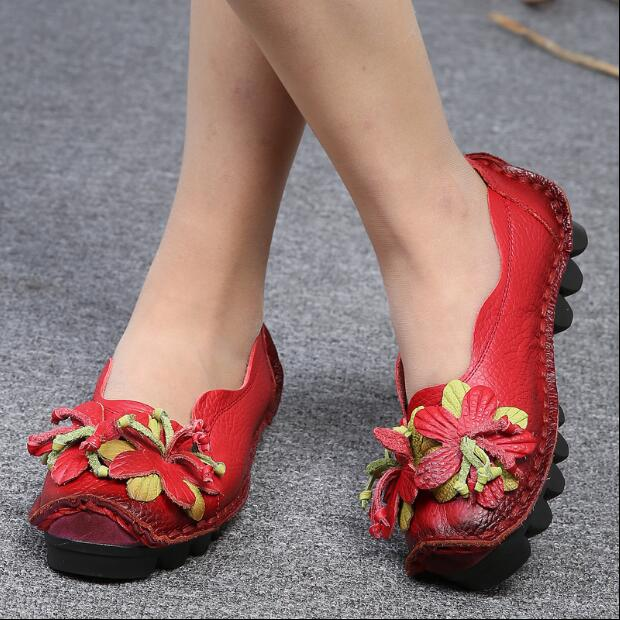 2017 New National Wind Flowers Handmade Genuine Leather Shoes Women Retro Soft Bottom Flat Shoes Summer Canvas Ballet Flats Free 2016 new fashion camellia women genuine full grain leather flat heel single shoes ladies working leather flowers ballet flats