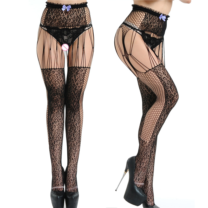 bow high waist Sexy Lingerie Black Lace Top Garter Belt Thigh Mesh Stockings Female Thin Net Pantyhose Lady Hose lingerie 022
