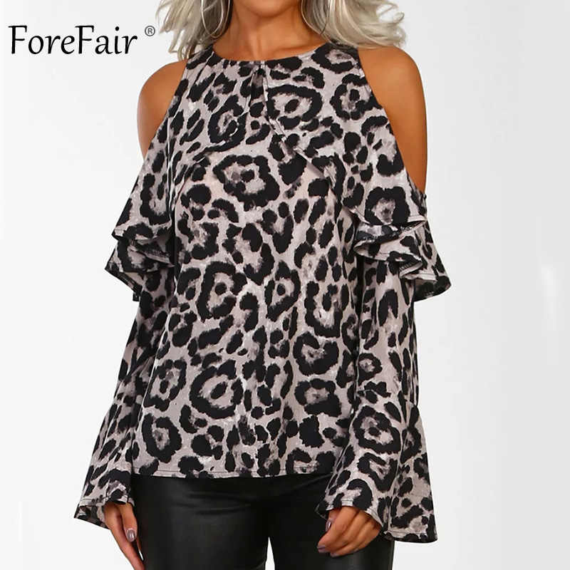45777b22ca7ad Forefair Long Sleeve Animal Print Ruffle Shirt for Women Plus Size Fashions  Sexy Open Shoulder Leopard