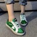 Moda Glitter Modernos Sapatos Casuais, Respirável Dedo Do Pé Redondo Lace-Up de Lazer Flats, Moda Estudantes Rua Calçado, escola Nova Sapatos