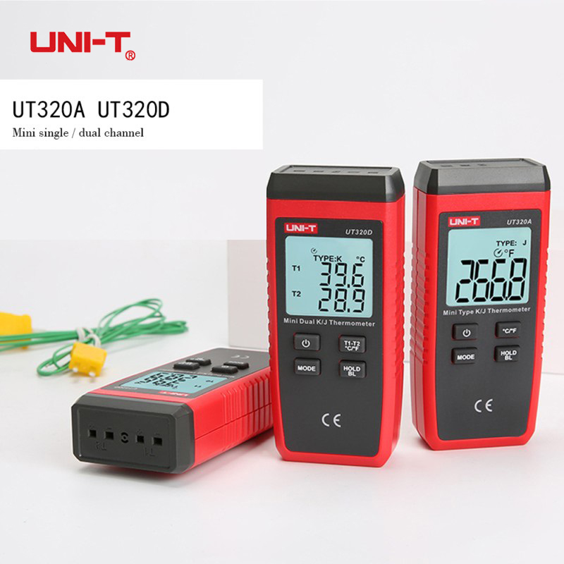 UNI-T UT320A UT320D Thermometer Mini Contact K/J Type Dual Channel Thermocouple C/F LCD Backlight Temperature Measuring Meter k j type single channel thermometer temperature meter tester gauge tm 80n