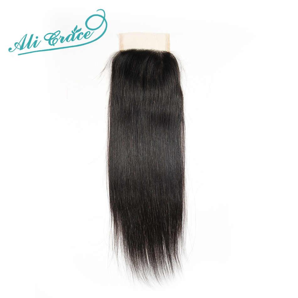 Ali graça cabelo 3 pacotes indiano cabelo reto com fechamento do laço 100% pacotes de cabelo humano remy com 4*4 mão amarrado fechamento
