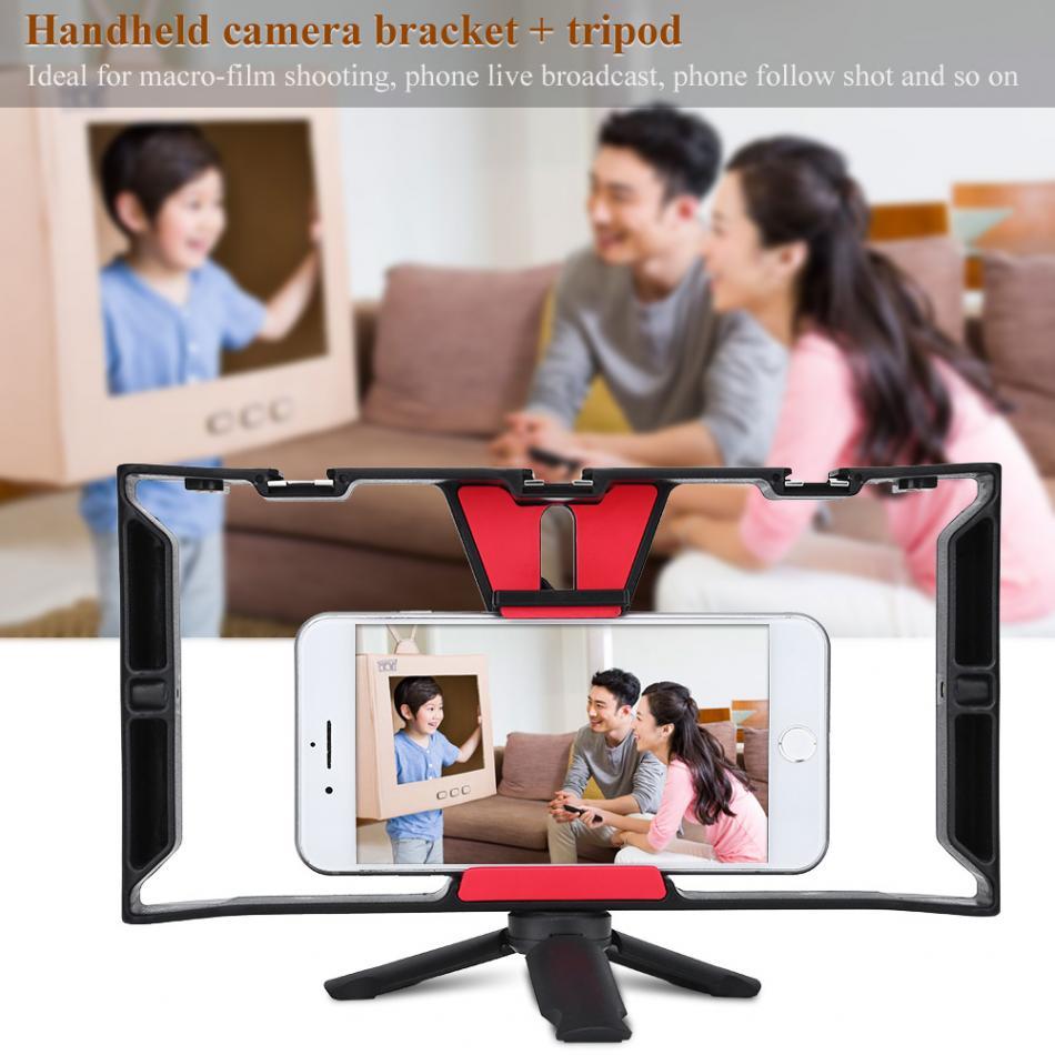 Portable Double De Poche Vidéo Cage Stabilisateur Kit Film Poignée Stable Mount Support Grip Rig Pour Smart Téléphone Vidéo Maker