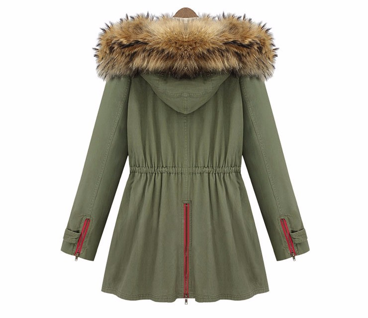 b7dccb62c530a 2015 New women Parkas Thick Cotton Padded Lining winter coat army green  winter jackets 100% Real Large Raccoon Fur Collar-in Parkas from Women s  Clothing on ...