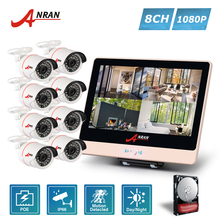 ANRAN Plug Play P2P 8CH 1080P 12 Inch LCD Monitor POE NVR Security System 24 IR MINI Bullet Outdoor POE IP Camera HDD Optional