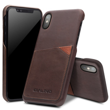 QIALINO Genuine Leather Back Case for iPhone X