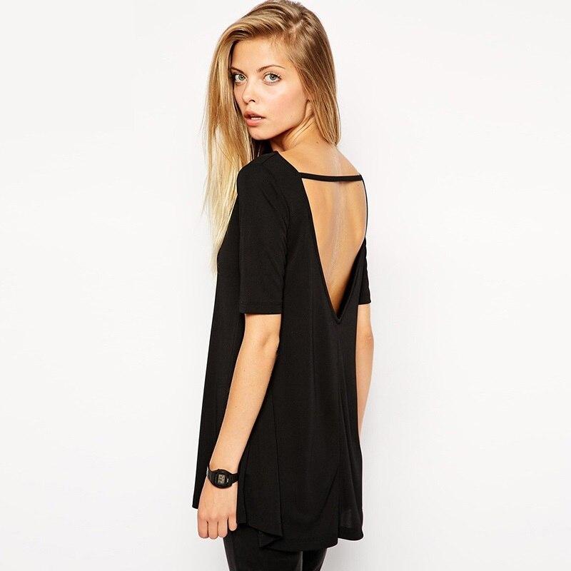 Brand T Shirts Women Fashion 2016 Plus Size Backless Top Open Back Sexy Cute Casual T Shirts Tshirt Tops For Women Y0317 39d Brand Tshirt Fashion Tshirttshirt Brand Aliexpress