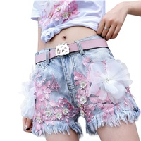 Five Styles Summer Women Short Denim Sequined Floral Embroidery Beading Printed Short Trousers Women Blue Slim Tassel trousers
