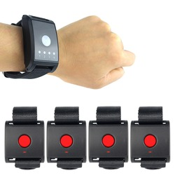 Wireless Calling System 1 Watch Receiver + 4 Call button for Patient the Elderly Emergency F4411A