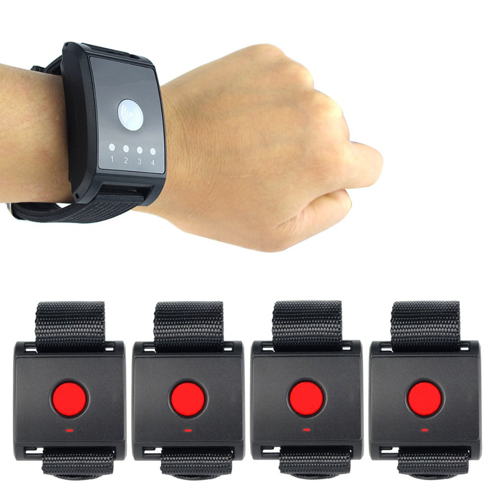 Wireless Watch Pager Calling System Paging System 1 Receiver + 4 Call button for Patient the Elderly Emergency F4411A wireless pager waiter calling paging system call pager 2pcs wrist watch receiver 8pcs call transmitter button 433mhz f3258