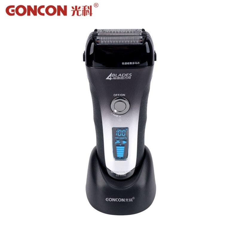 Pantalla LCD Afeitadora eléctrica hombres lavable recargable 4 hoja de afeitar eléctrica Razor Trimmer máquina rápida carga Barbeador 4546
