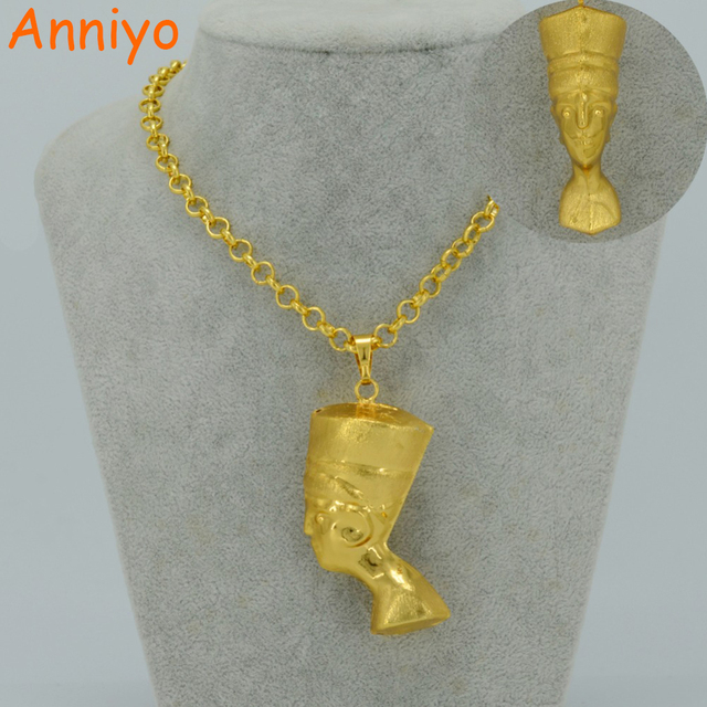 US $3 99 |Aliexpress com : Buy Anniyo 3D Egyptian Queen Nefertiti Pendant  Necklace Sets Jewelry Gold Color Egypt Necklaces for African Itmes #034806