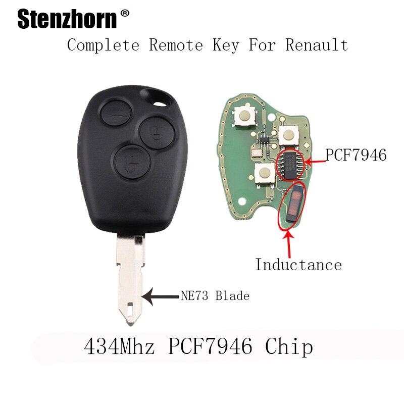 Stenzhorn 3 шт. * 434 мГц PCF7946 чип автомобиль дистанционного брелок для Renault Duster Logan Fluence Clio VIVARO MOVANO мастер traffic Kangoo