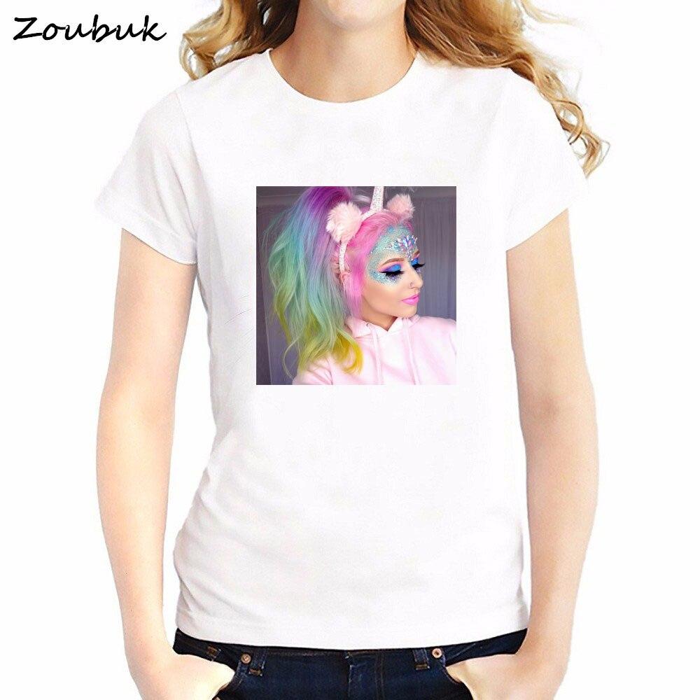 2018 New Chic Unicorn T Shirt rainbow tshirt men women Unicorn makeup t-shirt fashion summer top hipster cool tee plus size