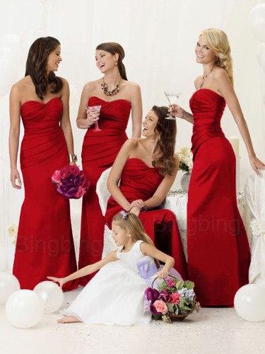 free shipping 2016 long cheap purple   bridesmaid     dresses   sexy sweetheart red satin for weddings vestido de festa de casamento