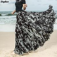 Custom Made 2019 Summer New Fashion Brand High Waiste Black Print Pleated Chiffon Skirt Women Fairy Large Swing Maxi Long Skirts