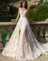 Loverxu Sexy Querida Destacável Train Lace Sereia Vestidos de Casamento 2016 Apliques Caixilhos Vestidos De Novia Bohemain Plus Size