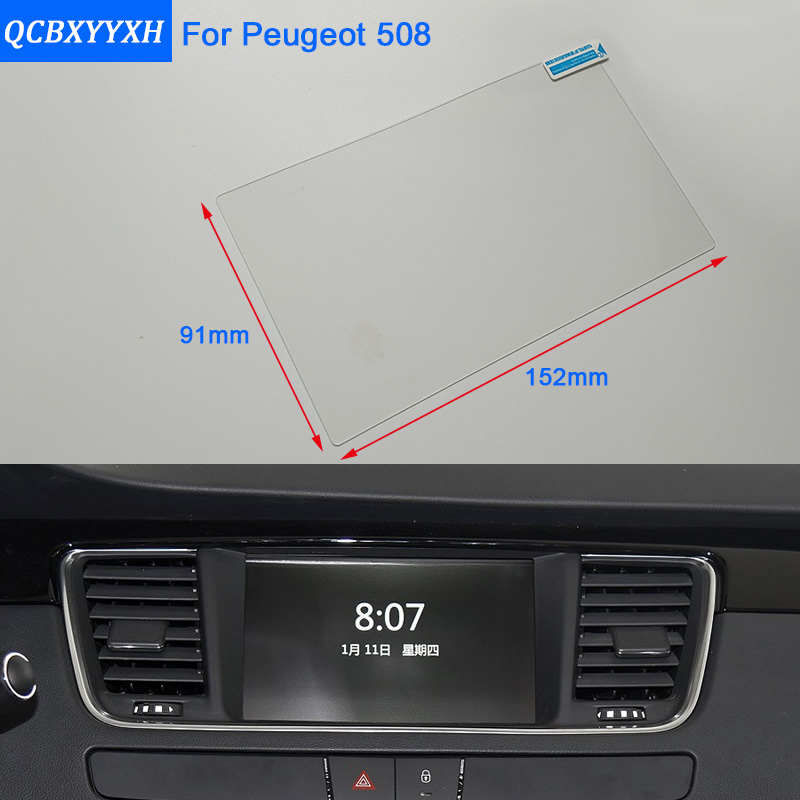 Car Styling 7 Inch GPS Navigation Screen Steel Glass Protective Film For Peugeot 508 Control of LCD Screen Car Sticker a gauge 7 inch lcd at070tn94 highlight navigation screen screen